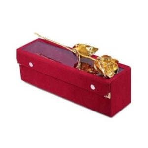 Gold Plated Rose Exclusive Velvet Box - 6.5 inch