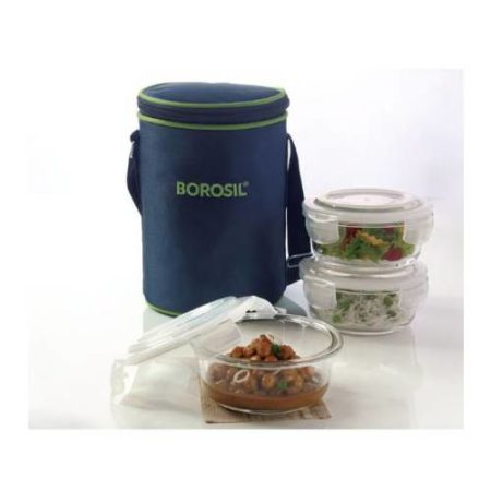 Borosil Klip-n-Store Round Lunch Box (3 Container)