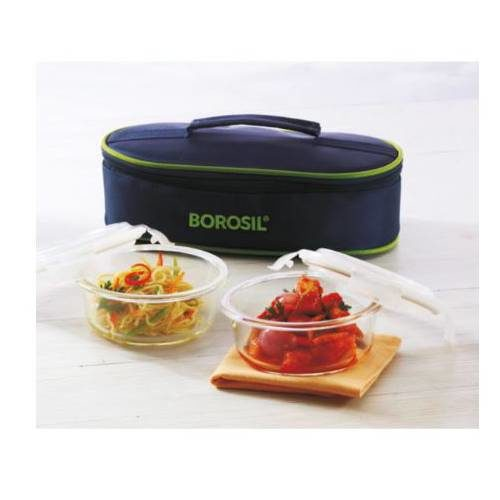 Borosil Klip-N-Store Round Horizontal Lunch Box (2 Container)