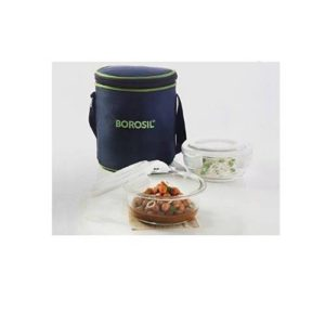Borosil Klip-N-Store Round Vertical Lunch Box (2 Container)