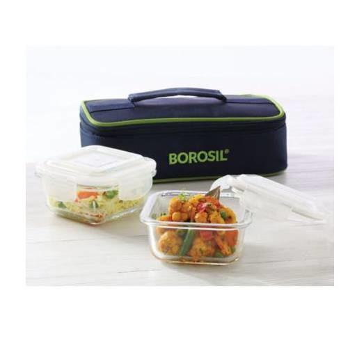 Borosil Klip-N-Store Square Horizontal Lunch Box (2 Container)