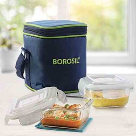 Borosil Klip-n-Store Square Vertical Lunch Box