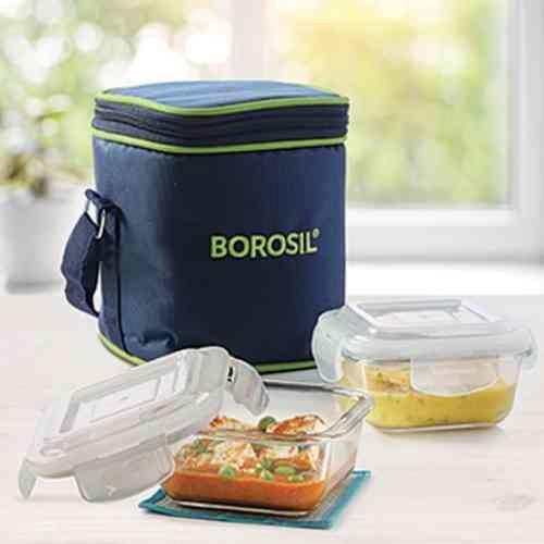 Borosil Klip-n-Store Square Vertical Lunch Box