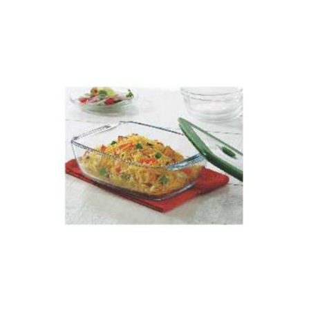 Borosil Rectangular Dish With Green Lid Container - 2.6 Litre