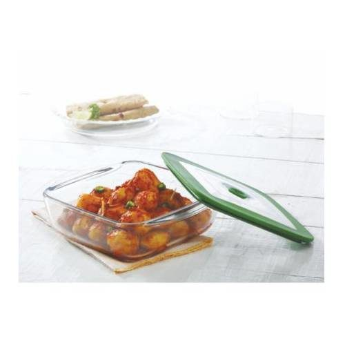 Borosil Square Dish With Green Lid Container - 2.2 Litre