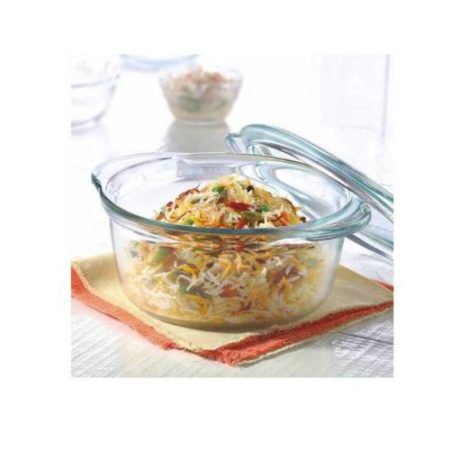 Borosil Deep Round Casserole With Lid - 1.2 Litre