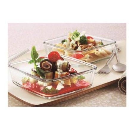 Borosil Square Dish with Lid Set of 2 Container - 500 ML