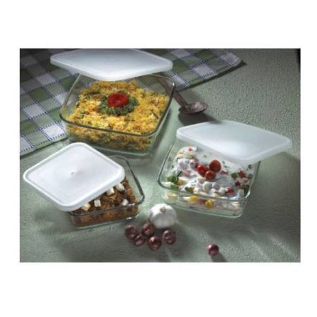 Borosil Square Dish with Lid Set of 3 Container
