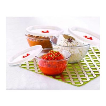 Borosil Sets of 3 Mixing Bowl With Plastic Lid