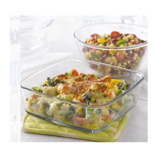 Borosil Combination Set Of 2 Mixing Bowl with Plastic Lid