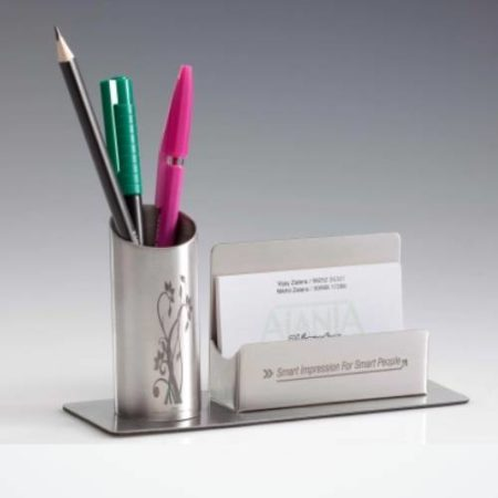 Ajanta Stainless Steel Pen Stand with Card Holder