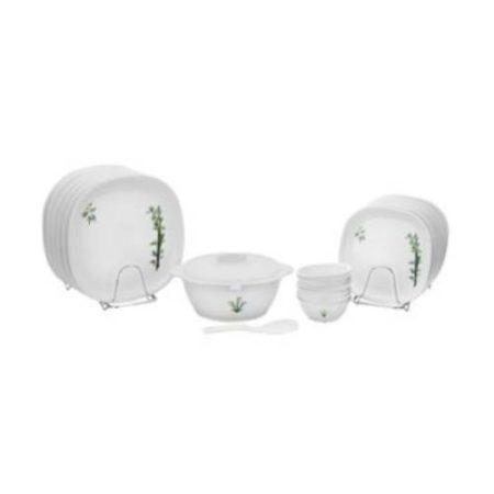 Signoraware Bamboo Plastic Dinner Set 21-Pieces White