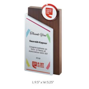 "Angel Wooden and Metal Trophy / Memento - L 9.5"" x W 5.25"""
