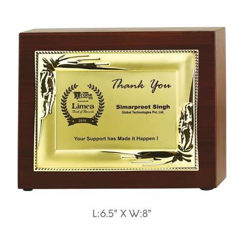"Angel Wooden and Metal Trophy / Memento - L 6.5"" x W 8"""