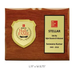 "Angel Wooden and Metal Trophy / Memento - L 11"" x W 8.75"""