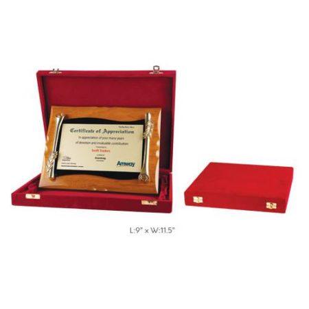 "Angel Wooden and Metal Trophy / Memento - L 9"" x W 11.5"""