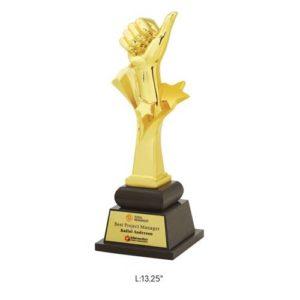 "Angel Wooden and Metal Trophy / Memento - L 13.25"""