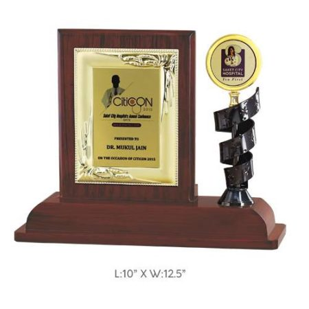 "Angel Wooden and Metal Trophy / Memento - L 10"" x W 12.5"""