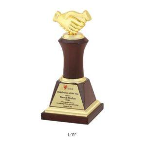 "Angel Wooden and Metal Trophy / Memento - L 11"""
