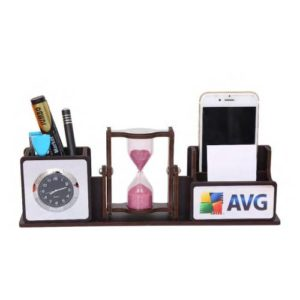 Desktop Organizer/ Office Table Top With Revolving Sand Timer