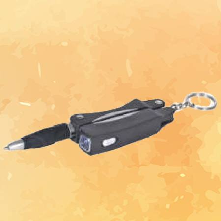 Multipurpose Key Chain - Pen with Scissor & LED Light