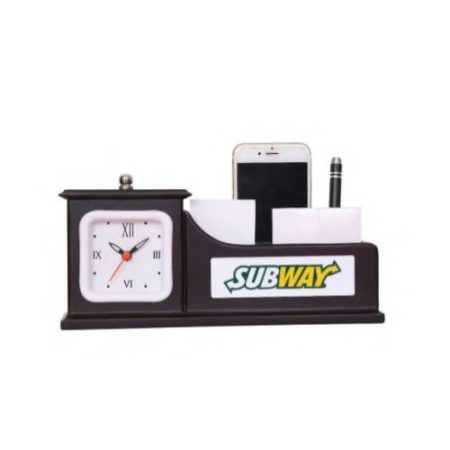 Desktop Organizer Office Table Top With Watch