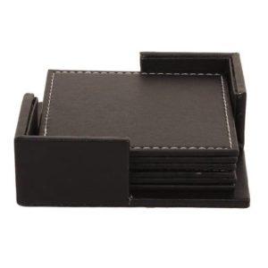 Square Leather Coaster Set 6