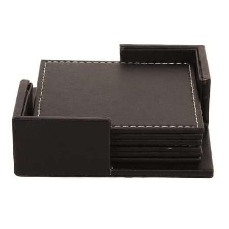 Square Leather Coaster Set 6