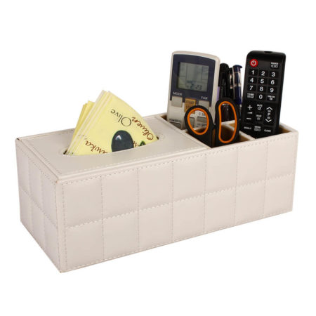 Desk Organiser with Tissue Holder (White)