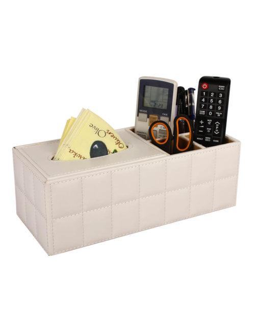Desk Organiser with Tissue Holder (White)