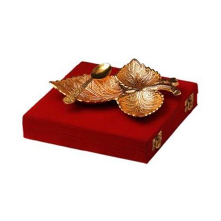 Golden Plated Grape 3 Leaf Platter