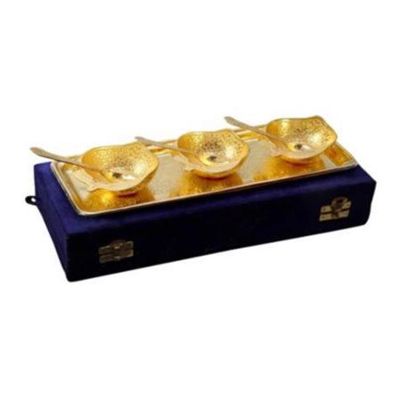 Gold Plated Apple Shaped Bowl Set 7 Pcs