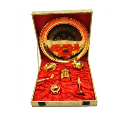 Golden Plated Pooja Thali