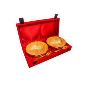 Gold Plated Brass Middle Peacock Carving Bowl Set