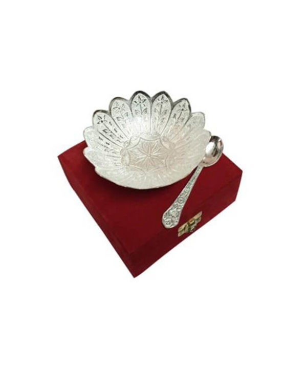 Silver Plated Bowl Lotus Flower