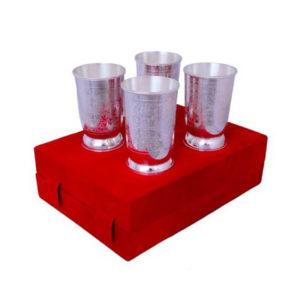 Silver Plated Brass Glass Set 4 Pcs
