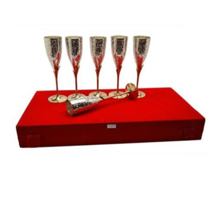Silver Plated Brass Wine Glass Set 6