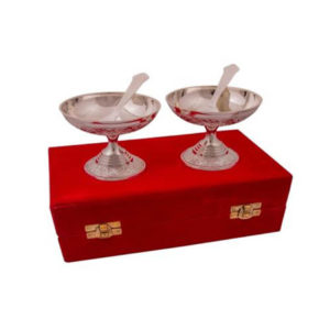 Silver Plated Brass Ice Cream Bowl Set