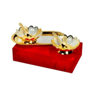 Golden Plated Bowl & Tray Set