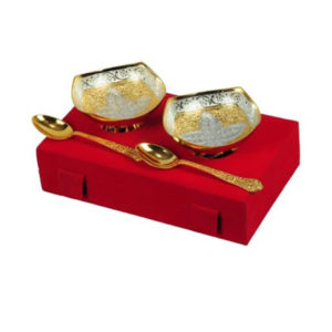 Golden Plated Flower Design Bowl Set
