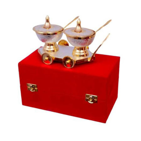 Silver & Gold Plated Table Trolley Set
