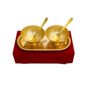 Gold Plated Brass Bowl Set 5 Pcs