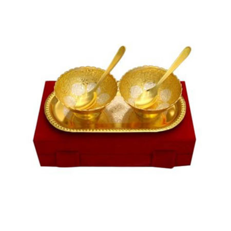 Gold Plated Brass Bowl Set 5 Pcs