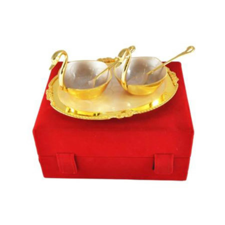 Silver & Gold Plated Brass Duck Shaped Bowl Set 5 Pcs