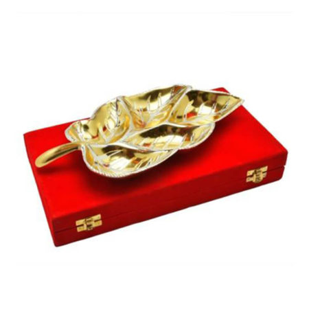 Gold & Silver Plated Brass Big Leaf Platter