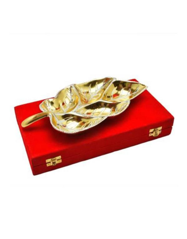 Gold & Silver Plated Brass Big Leaf Platter