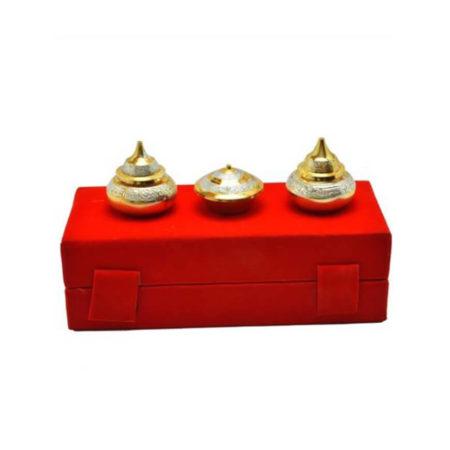 Gold Plated Brass Haldi Kumkum Set