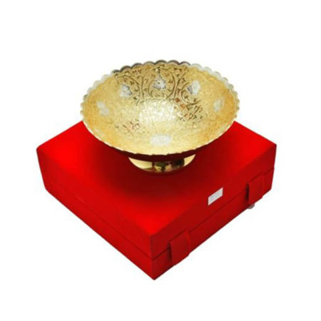 """Silver & Gold Plated Brass Bowl 8"""""""