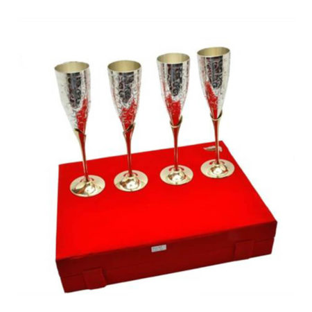 Silver Plated Brass Wine Glass Set 4 Pcs