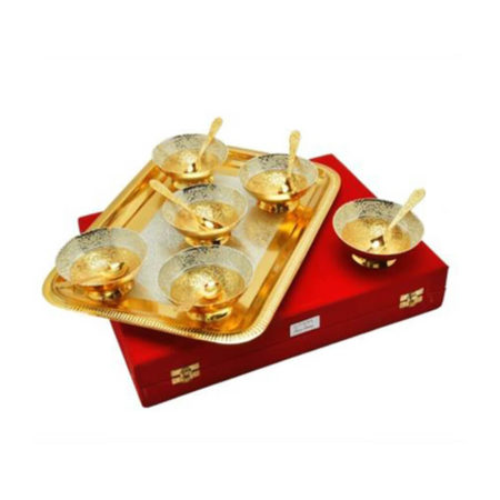 Silver & Gold Plated Bowl Set 13 Pcs